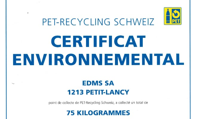 certificat pet recycling